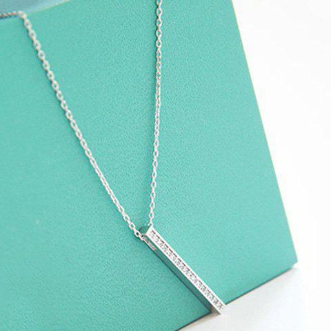 Alloy Bar Rhinestone Pendant Necklace - SILVER