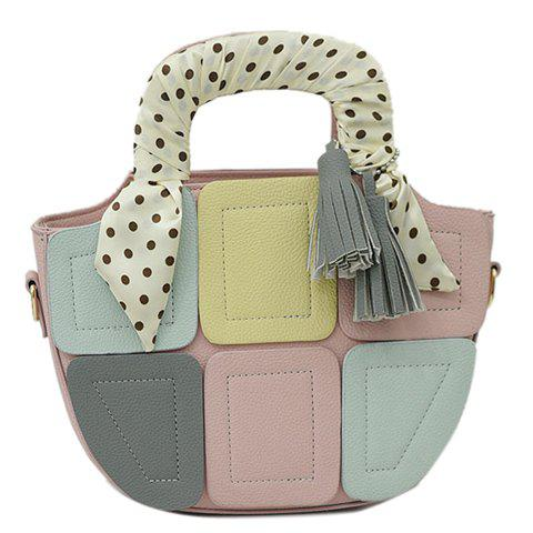 Sweet Patchwork and Color Block Design Women's Tote Bag - PINK