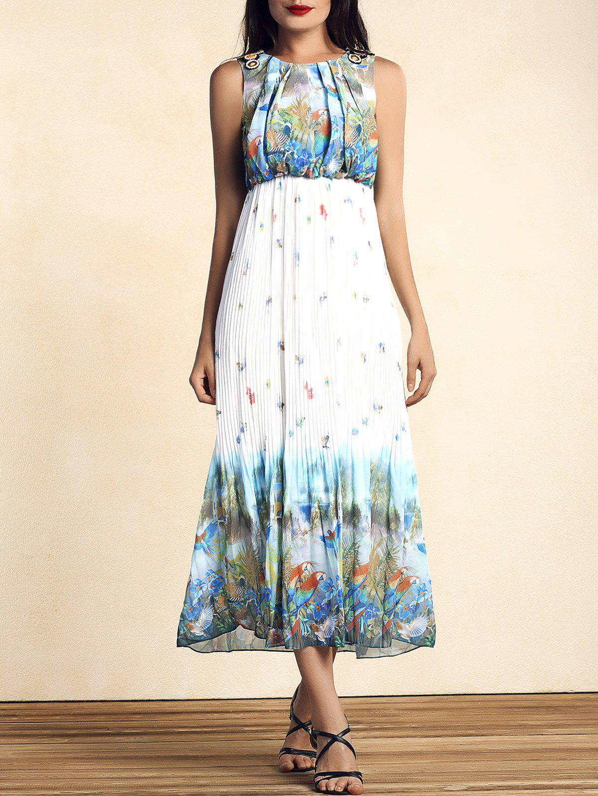 Bohemian Sleeveless Scoop Neck Bird Print Pleated Women's Dress - COLORMIX M