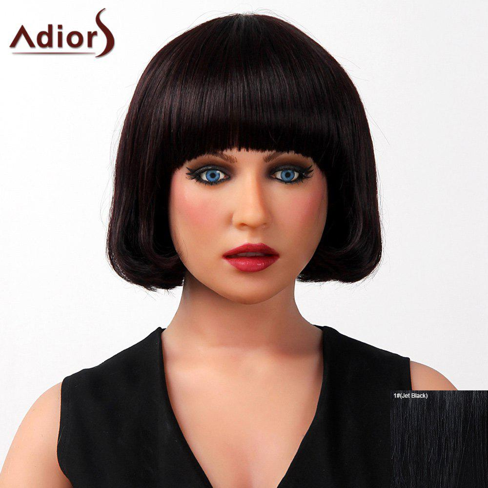 Sophisticated Full Bang Silky Straight Bob Cut Capless Human Hair Wig For Women - JET BLACK