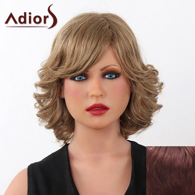 Fluffy Curly Short Adiors Human Hair Stunning Side Bang Capless Wig For Women