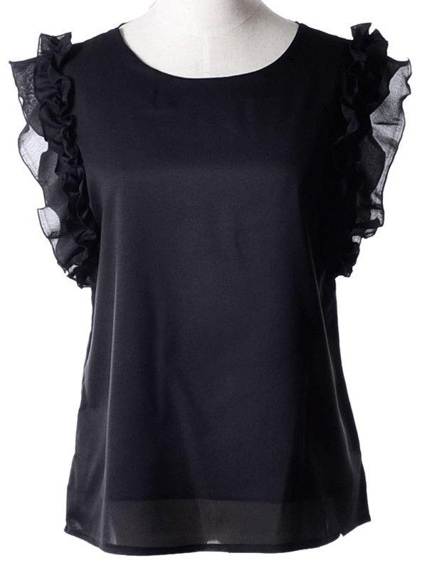 Sweet Women's Jewel Neck Flounce Sleeveless Chiffon Blouse - BLACK XL
