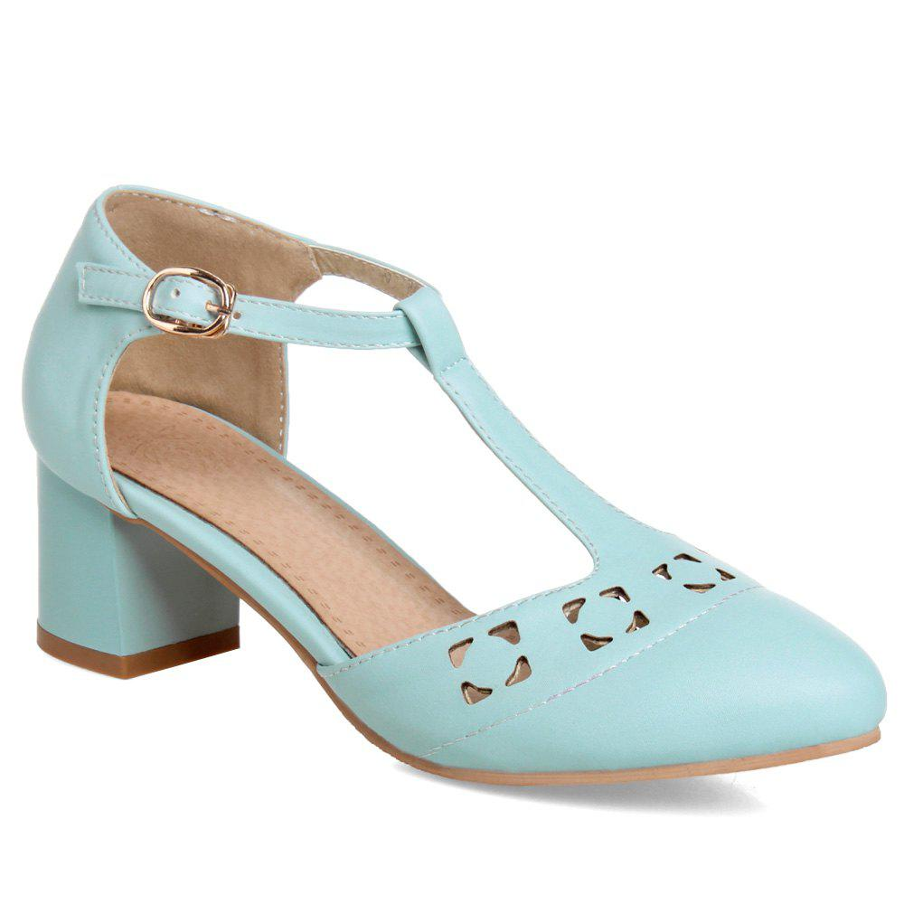 Leisure T-Strap and Hollow Out Design Women's Pumps - WATER BLUE 39
