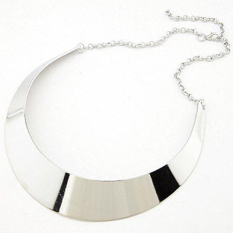 Alloy Adjustable Moon Shape Necklace - SILVER