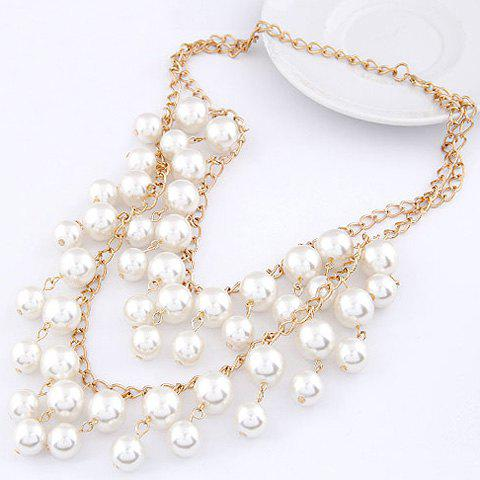 Artificial Pearl Layered Necklace - WHITE