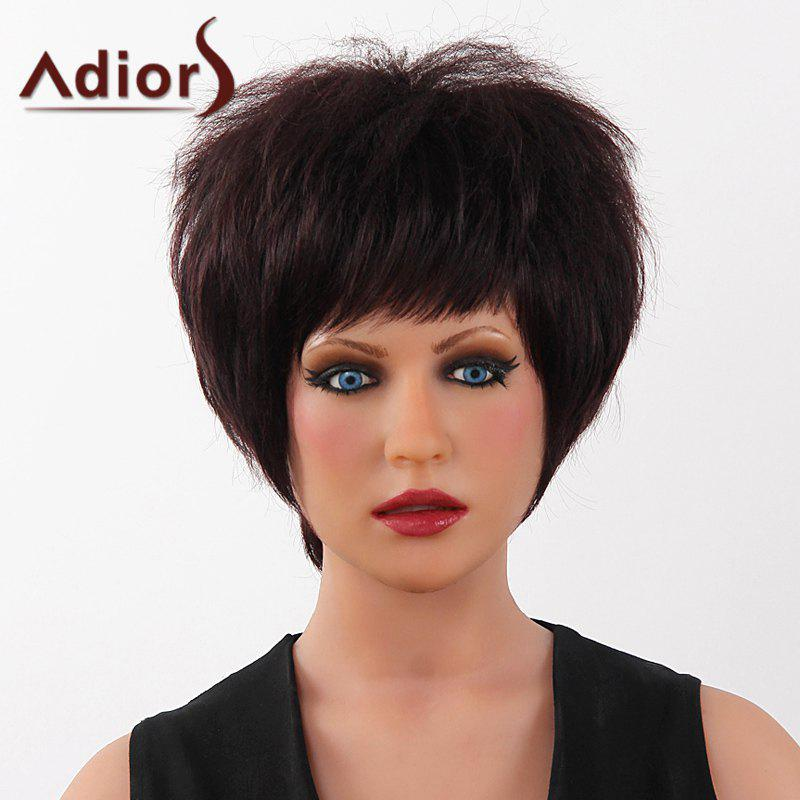 Fluffy Yaki Straight Capless Human Hair Fashion Short Full Bang Adiors Wig For Women - RED MIXED BLACK