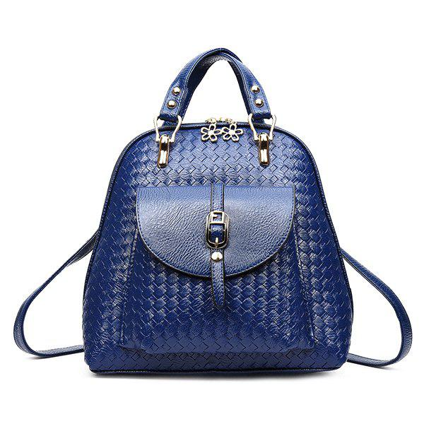 Leisure Weaving and Buckle Design Women's Satchel - BLUE
