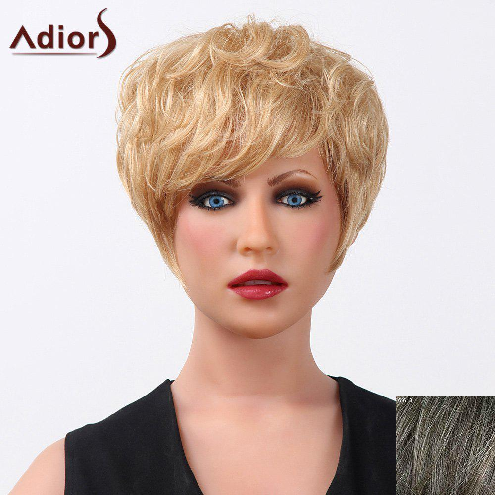 Fluffy Curly Short Elegant Side Bang Capless Human Hair Adiors Wig For Women - DARKEST BROWN/GRAY