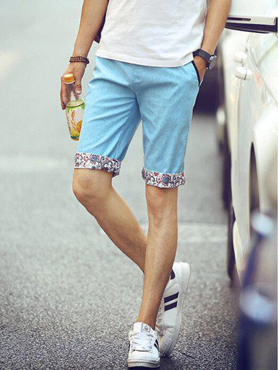 Casual Straight Leg Floral Crimping Men's Lace-Up Shorts - LIGHT BLUE L