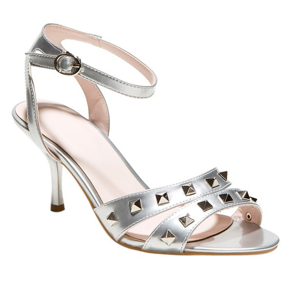 Fashionable Ankle Strap and Rivets Design Women's Sandals - SILVER 40