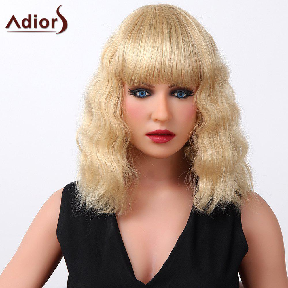 Shaggy Curly Long Adiors Stylish Full Bang Capless Real Human Hair Wig For Women - GOLDEN BROWN/BLONDE