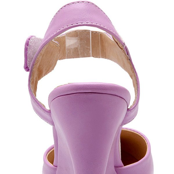 Trendy Pointed Toe and Solid Color Design Women's Wedge Shoes - PURPLE 37