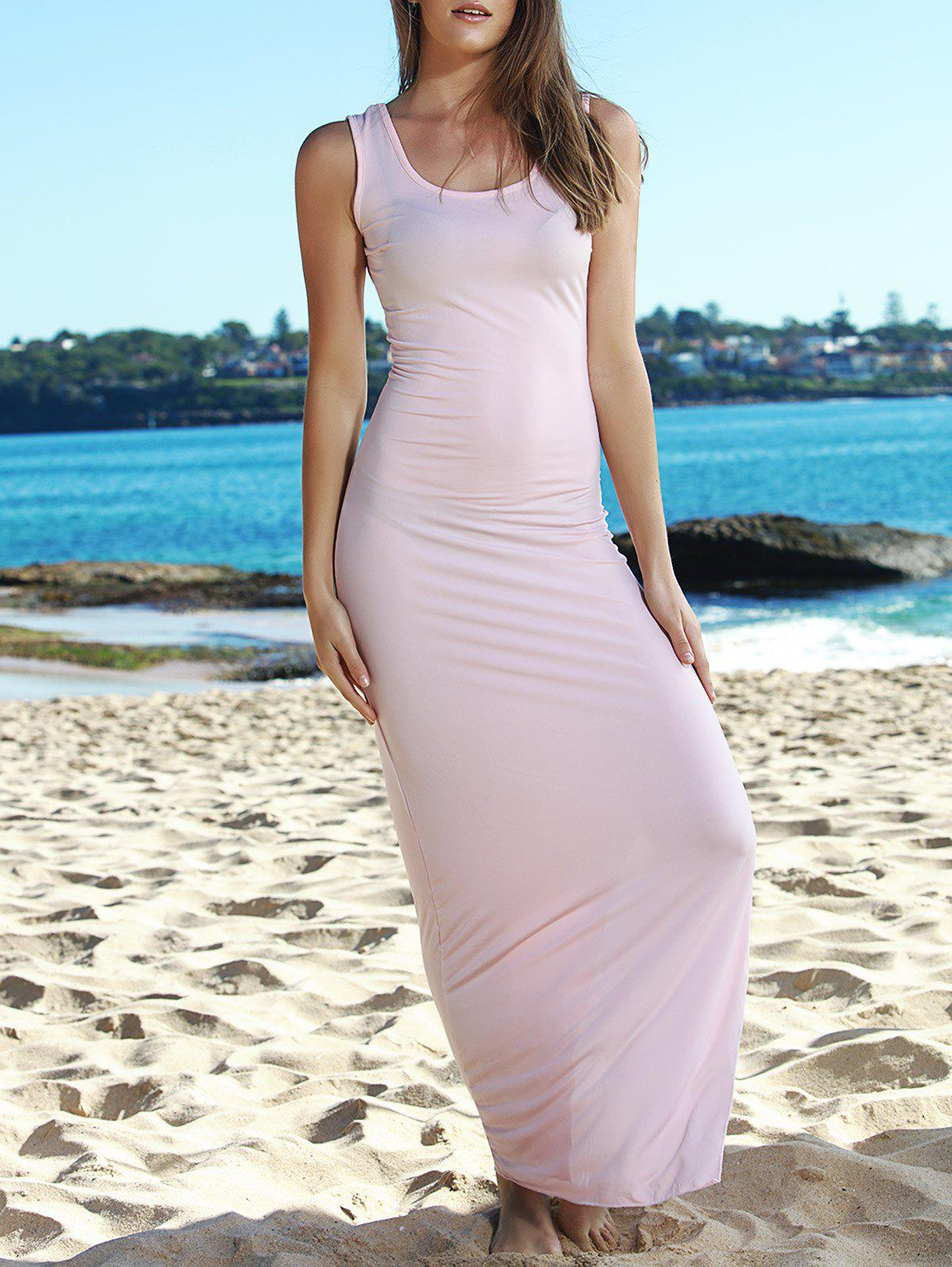Sexy Sleeveless Scoop Collar Pure Color Women's Slit Dress - PINK ONE SIZE(FIT SIZE XS TO M)