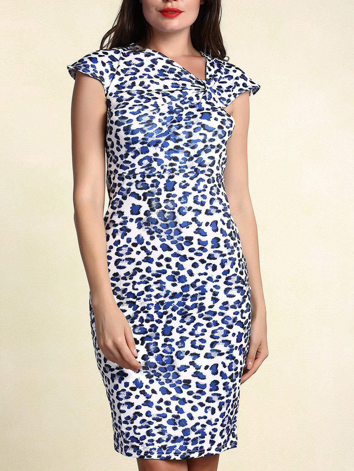 Stylish Women's Skew Collar Short Sleeve Leopard Dress - BLUE 2XL