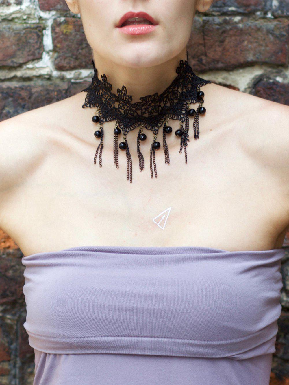 Gothic Long Tassels and Beads Design Lace Flower Necklace - BLACK