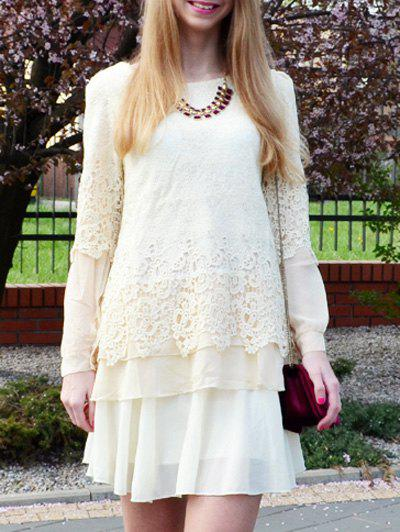 Stylish Round Collar Long Sleeve Lace Embellished Skirt Hem T-shirt ннх шапка