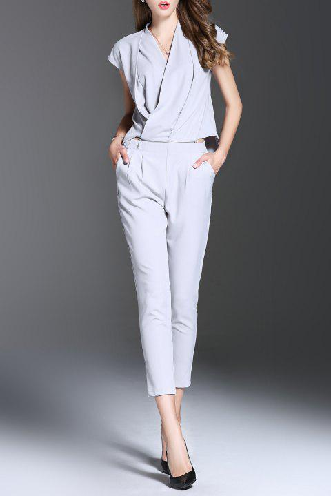 V Neck Solid Color Convertible Jumpsuit - LIGHT GRAY S
