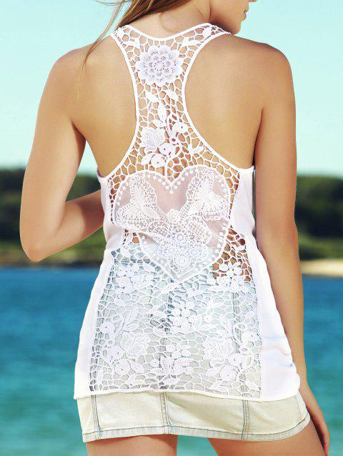 a737d0f051156 Stylish Solid Color Back Cut Out Lace Spliced Racerback Tank Top For Women  - WHITE S