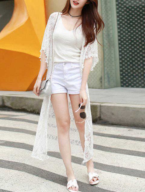 Sweet Collarless Bell Sleeve White Lace Kimono Blouse For Women - WHITE S