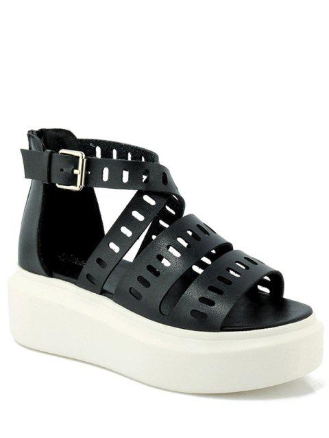 Casual Cross-Strap and Hollow Out Design Sandals For Women - BLACK 38