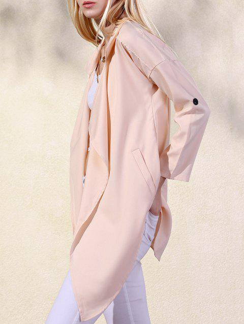 Fashion Lapel Collar Long Sleeve Solid Color Pockets Women's Trench Coat - APRICOT M