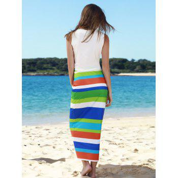 Stylish Sleeveless Scoop Neck Tank Top + High-Waisted Striped Skirt Women's Twinset - WHITE WHITE