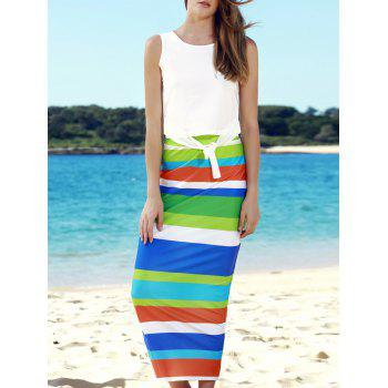 Stylish Sleeveless Scoop Neck Tank Top + High-Waisted Striped Skirt Women's Twinset