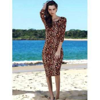 Trendy Round Collar 3/4 Sleeve Backless Leopard Print Packet Buttock Dress - LEOPARD ONE SIZE
