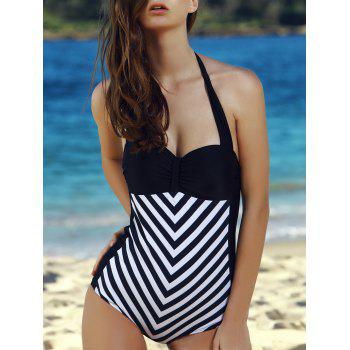 Vintage Women's Halter Striped One-Piece Swimwear