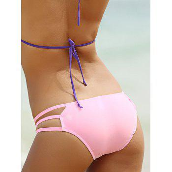 Stylish Solid Color Hollow Out Briefs For Women - LIGHT PINK XL