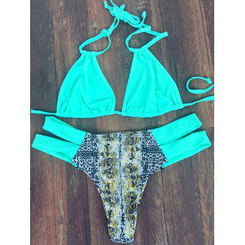 Stylish Women's Halter Neck Printed Bandage Bikini Set