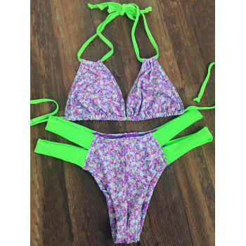 Buy Sweet Halter Neck Tiny Floral Print Women's Bikini Set PURPLE