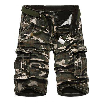 Loose-Fitting Camo Print Multi-Pockets Zipper Fly Straight Leg Men's Cargo Shorts
