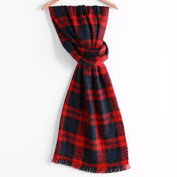 Chic Houndstooth Patchwork Plaid Pattern Fringed Edge Women's Winter Scarf - BLACK BLACK