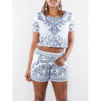 Chic Scoop Neck Short Sleeve Crop Top + Pocket Design Floral Print Shorts Twinset For Women