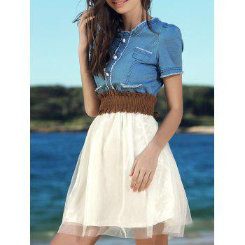 Scoop Neck Short Sleeve Denim Splicing Chiffon Dress With Belt For Women