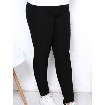 Simple Style Plus Size Solid Color Elastic Ankle Pants For Women - XL XL