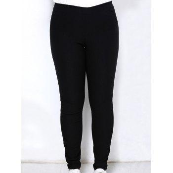 Simple Style Plus Size Solid Color Elastic Ankle Pants For Women - BLACK XL