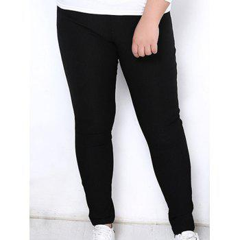 Simple Style Plus Size Solid Color Elastic Ankle Pants For Women - BLACK BLACK