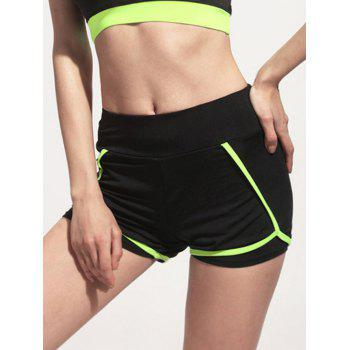 Active Women's Elastic Waist Color Block Mini Shorts