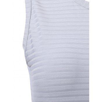 Bodycon Solid Color Sleeveless Scoop Neck Women's Club Dress - SILVER S