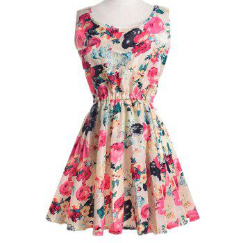 Scoop Neck Floral Print Sleeveless Chiffon Dress For Women