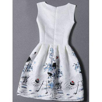 Jacquard Fit and Flare Dress - WHITE S