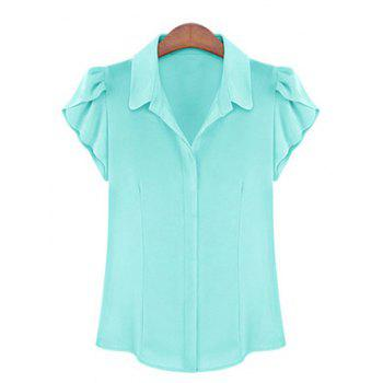 Elegant Women's Shirt Collar Flounce Sleeves Chiffon Shirt