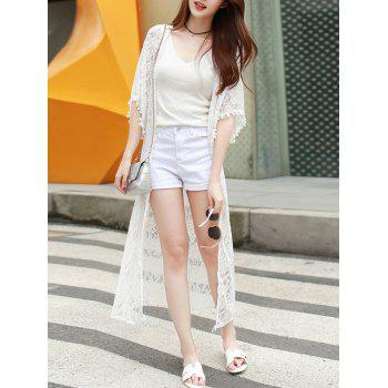 Sweet Collarless Bell Sleeve White Lace Kimono Blouse For Women