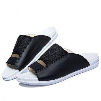 Casual Splicing and Solid Color Design Men's Slippers - 43 43