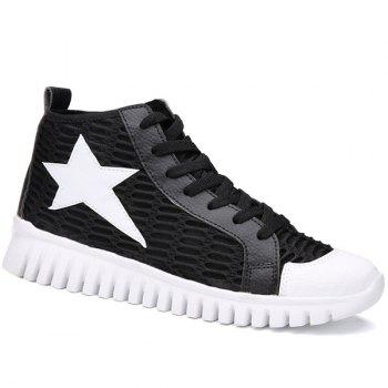 Trendy Color Block and Star Pattern Design Men's Casual Shoes