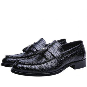 Retro Tassel and Embossing Design Men's Casual Shoes - 42 42
