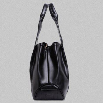 Simple Zip and Stitching Design Women's Tote Bag - BLACK