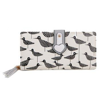 Casual Print and Color Block Design Women's Clutch Wallet